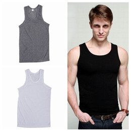 Wholesale Hot Sexy Tank top Vest Men H shaped Bar Coarse Pitch Thread Cotton Men Vest EET