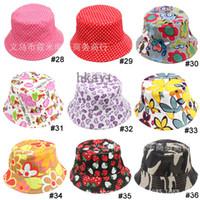Unisex Summer Visor Baby Cartoon printed flower hat girls cap infant sun hat Colorful Baby Bucket hats canvas children beanie Uv protection 20pc lot,36Colors