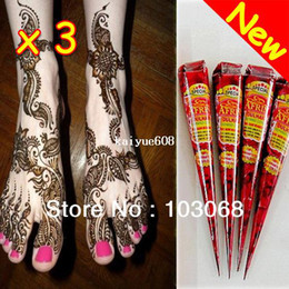 Wholesale 3Pcs New Natural Henna Tattoo Art Paste Temporary Tattoo Brown g