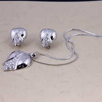 Wedding Jewelry Sets Celtic Gift Hot Selling Women Dress Costume Corn Shape Pendant Necklace Earrings Crystal Fashion Silver Plated Party Gift Pendant Jewelry Sets