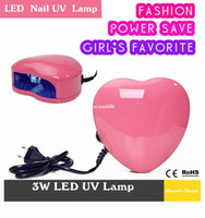 Wholesale Fashion Professional W LED Nail UV Lamp Nail Art Gel Dryer Light Spa Kit Pink Heart Shaped Fast Drying