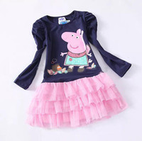 TuTu Summer A-Line 2014 Spring and Autumn Baby Gilrs Long sleeve dress cut peppa pig Layered dress girl princess dresses 2-6Y baby clothing