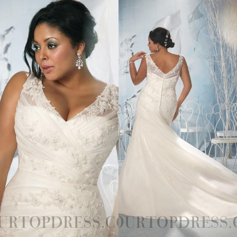 sexy mermaid plus size wedding dresses v neck court train