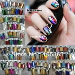 Wholesale Colors MIXED GLITZY Nail Art Transfer Nail Foil Sticker Wrap Nail Tip Decoration Easy Adhesive Craft Shine Foils Acrylic Gel