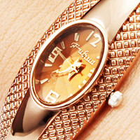 Women's allies band - Lady Beads Wrap Bracelet Watch Oval Dial Flower Dial Leather Bangle Bracelet Quartz Rose Gold Ally Strap Band Wristwatch Girl womens Watch