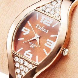 Fashion Women Ladies Bracelet Watch Rhinestones Rose Gold Face Crystal Diamond Alloy Band Wrist Watches Round Quartz Analog WristWatch