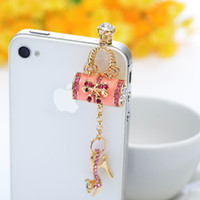 Wholesale Charms lady high heeled shoes style for all phones Mixed Style Rhinestone Crystal mm Anti Dust Earphone Jack Plug Stopper