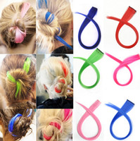 Wholesale High quality Long Solid Colored Colorful Clip On In Hair Extension Hightlight Color