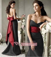Wholesale 2016 New Mermaid Satin Bridesmaid Dresses Sweetheart Backless with Big Red Bow Empire Floor Length Black Formal Maid of Honor Dresses CPS014