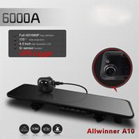 Wholesale 6000A Car Camera Rearview Mirror Car DVR Recorder System Full HD P DVRs Dual Lens quot TFT LCD GPS G sensor Degree K1140