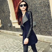 Wholesale New Fashion autumn and winter woolen outerwear PU sleeve elegant female slim medium long wool coat Size S M L XL