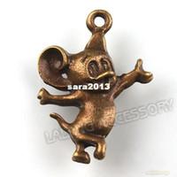 Wholesale 150pcs Bronze Cute Mouse Charms Antique Bronze Plated Zinc Alloy Pendant Jewelry Finding mm141049