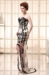 Wholesale 2014 Asymmetrical Sweetheart Sheath Embroidery Evening Gowns Strapless Hi lo Lace up Sexy Formal Party Dresses Appliques Sheer SD061