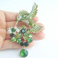 Wholesale 3 quot Fashion Costume Jewelry Luxury Hummingbird Brooch Pin w Green Clear Rhinestone Crystal KPA01775C4a