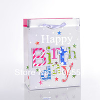 Favor Bags White Paper Paper gift Bag Promotion Bag Birthday Party Bags wholesale and retail