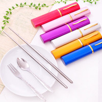 Wholesale Portable Stainless Steel Cutlery Fork Spoon Chopstick piece set Outdoor Tableware Camping Tableware