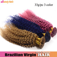 Wholesale Virgin Afro Kinky Curly Brazilian Hair Weaving Blonde Pink Blue g Pieces Hot Human Highlight Fashion Queen Beauty Hair Product