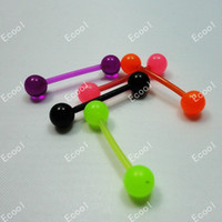Navel & Bell Button Rings Unisex Plastic Hot sale Cool wholesale jewelry 70pcs Colored plastic Tongue Studs body piercing free shipping Tongue rings LR231