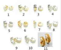 Wholesale Steel Men s Women s Hoop Earrings Fashion Jewelry Mix order pairs Stainless Steel Silver Gold Earrings