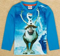 Boy Summer Standard Cartoon frozen children t shirts 2014 new kids t-shirts cool long sleeve toddler baby cartoon clothes tees Olaf design