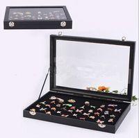 Wholesale Wooden Velvet Black GLASS TOP JEWELRY DISPLAY CASE VELVET FOAM INSERT Ring Earrings Necklace Bracelet Jewelry Box Tray types