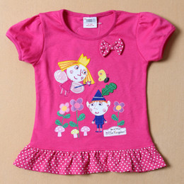 Wholesale 2014 Kids Clothing Ben and Holly s Little Kingdom Girls T shirts Short Sleeve Cartoon Printing Dots Kids Summer frozen shirts