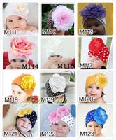 Winter cotton beanies - Baby accessories Big Flower Beanie Hat Cotton Kids Cap Toddler Baby Girls Hat Spring Autumn Cap Photo Props Xmas Gift colors