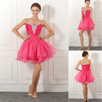 Wholesale Fuchsia Ball Gown Tiered Cocktail Dresses with Strapless Sleeveless Sweetheart Short mini skirt Homecoming Evening Party Gowns SD042