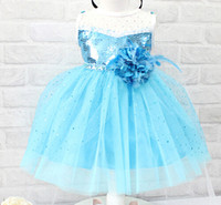 baby girl dresses special occasion - Frozen Elsa PROM dress gauze lace dresses baby girl kids children s special occasions party sequins flower A shape dress clothing blue