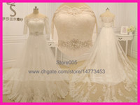 A-Line Real Photos Off-Shoulder 2014 Real Model Romantic Ivory Off Shoulder Lace Half Sleeve Crystal Belt A Line Wedding Dress Bridal Gowns W2947