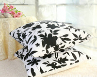 Eco Friendly black pillow cases - 2014 Fashion Special White and Black Flowers Canvas Pillow Cover Lumbar Pillow Pillow Cushions Cases