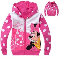 Girl Spring / Autumn Hooded 3-8yrs girls coats hoodies autumn babys kids full zip outerwear polka dot cartoon fashion children jacket cotton