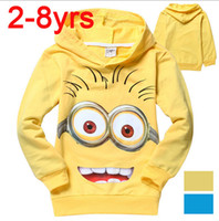 Wholesale Hot sale new style boys hoodies top coats autumn kids wear despicable me minions cartoon childrens hooded clothing retail
