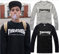 Wholesale fashion brand thrasher letter printed limited edition long sleeve t shirt cotton colors chinese size S XXXL