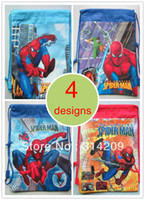 Day Packs Men Plain Children Cartoon Spider-man Drawstring Backpack Bag, 4 Designs Can Choose,Best Birthday Party Gift For Kids, 35X27cm, 4pcs lot