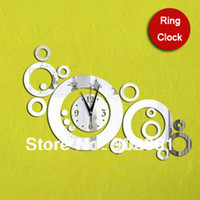 Mechanical funlife Plastic [funlife]-Free Shipping DIY 60*80cm(23.6*31.5in) Creative DIY Quartz Magic Rings Combination Living Room Mirror Wall Clock