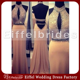 Wholesale Luxury Sparkly Evening Dresses with Sexy Shining Beaded crystal Halter and Glamorous Low Backless Elegant Mermaid Two Pieces Prom Gowns