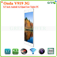 Wholesale Onda V919 G Phone Call Tablet PC Inch x768P IPS Screen MTK8382 Quad Core RAM GB ROM GB GSM WCDMA FM GPS Bluetooth mAh