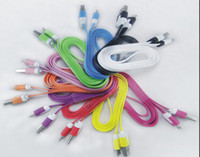 Wholesale 10 Colors Noodle Flat V8 Micro Data Sync USB Charging Cable for Samsung S3 S4 HTC Blackberry LG more Cell phone
