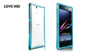 Cheap LOVE MEI smoked pull type metal bumper for sony xperia z l36h,13 kinds of color , free shipping
