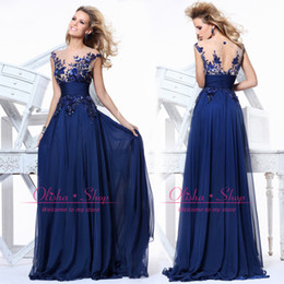 Wholesale Hot Sale Party Dresses A Line Sheer Crew Applique Sequins Cap Sleeve Hollow Back Chiffon Evening Gowns Cheap Prom Dress in Stock CPS011