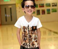 Boy Summer Short GXR Children T Shirt Summer Pure Cotton Tiger Head Skull Fashion Boy Short Sleeve Tshirts 3-9Year Kids Clothing Topwear 110-150