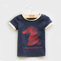 Wholesale 2014 new children s T shirts with horse picture lycra T shirts high quanlity
