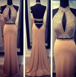 Hot Online Selling ! Halter Two Pieces Beaded Backless Chiffon Evening Dresses Party Formal Prom Homecoming Gowns