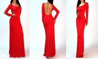 Casual Dresses Round Ankle Length 2014 New Fashion Elegant Celebrite O-neck Full Sleeve Backless Sexy Party Cocktail Women Casual Holiday BOHO Maxi Long Dresses Size S,M,L,XL