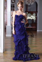 Wholesale New Arrival Ruffled Prom Dress Organza Royal Blue Inspired by TERANI Special Occasion Dresses