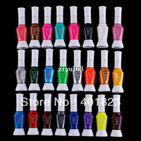 nail art glitter - 24pcs Colors Way False Nail Art Glitter Makeup Polish colorful Nail Art Striper Pen Varnish Brush Set