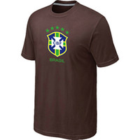 Soccer Men Short Brazil Soccer T-Shirts Men's Brown Short Sleeve Football Shirt 2014 World Cup Brasil Soccer Jersey Top Shirts High Quality Cheap Sportswear