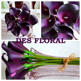 Wholesale Vintage Artificial Flowers pieces Mini Dark Purple Calla Lily Bouquets for Bridal Wedding Bouquet Decoration Fake Flower