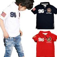 Boy Summer Standard 2014 Children's Shirts Children's Clothing Boys Kids T shirts Embroidery Lapel Short sleeve Tshirts Shirts Free Shipping